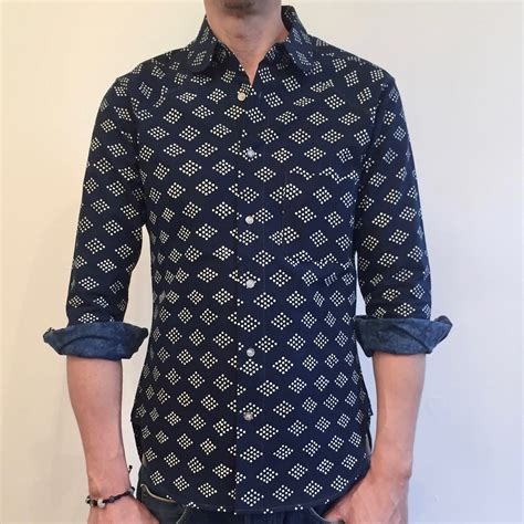 diamond pattern shirt name diamond pattern indigo shirt hand dyed natural indigo cotton