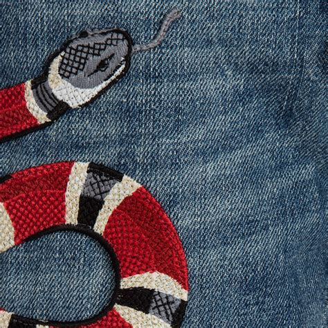 Gucci Snake gucci boys blue denim snake embroidered