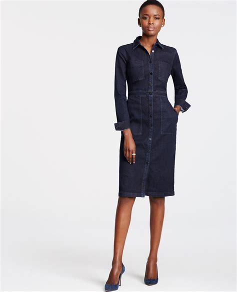 Dress Navy Denim denim shirtdress in blue lyst