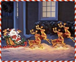 Lighted santa amp reindeer sleigh christmas holiday outdoor decor yard
