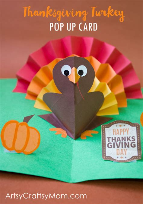 Thanksgiving Pop Up Cards Templates by Diy Thanksgiving Turkey Pop Up Card Artsy Craftsy