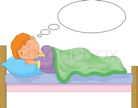 bett zeichnung vector illustration of boy sleeping stock vector