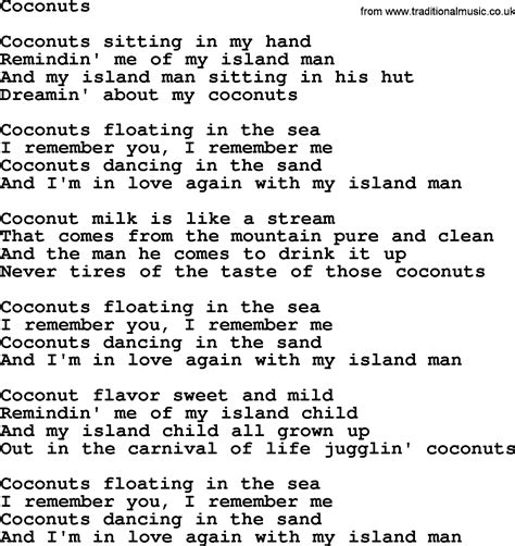 coconut song joan baez song coconuts lyrics