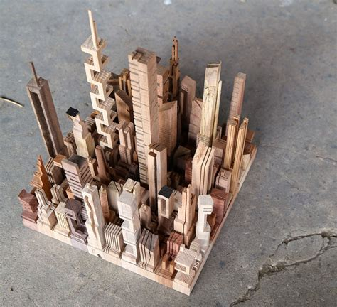 Micro Metros Abstract City Models Carved From Wooden