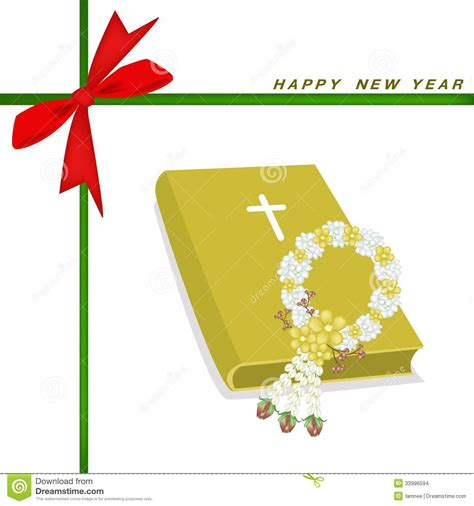 new year gift new year gift card with bible and flower garland stock