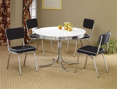 1950s Style Chrome Retro Dining Table Set Black Chairs Retro Style Dining Table