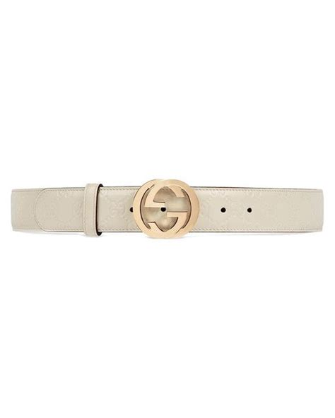 lyst gucci signature leather belt in white