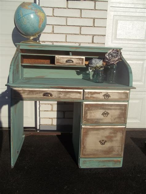 gorgeous distressed turquoise gold shabby chic roll top desk 75 thrifty fabulous