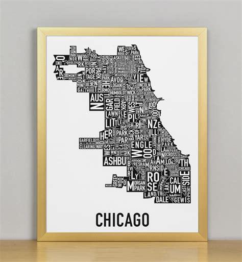 chicago neighborhood map poster chicago neighborhood map 11 quot x 14 quot classic black white
