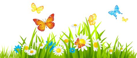 Bed Frame High Off Ground Grass Ground With Flowers And Butterflies Png Clipart