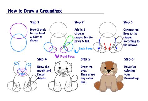 groundhog day that step learn how to draw a groundhog wkn webkinz newz