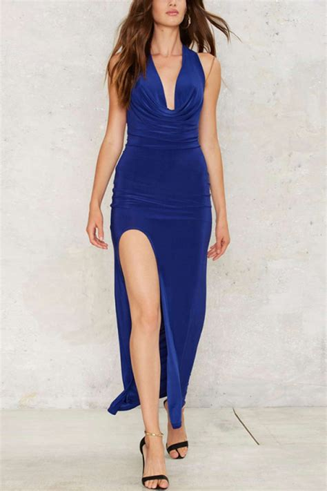 blue draped  neck side slit sexy dress  party dresses