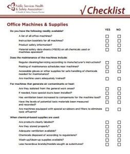 services health and safety association office machines supplies checklist