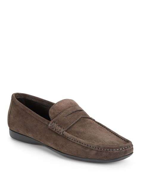 bruno magli suede loafers bruno magli partie suede loafers in gray for