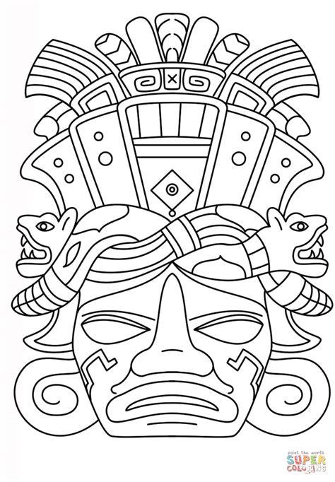 12 Best Images Of Mayan Mask Template Printable Mayan Mayan Coloring Pages