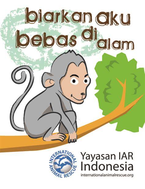 membuat poster tentang hewan pemberitahuan kepada pers biarkan monyet bebas di alam