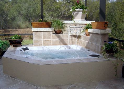 in ground tub in ground spa with planters jacksonville tubs and spas