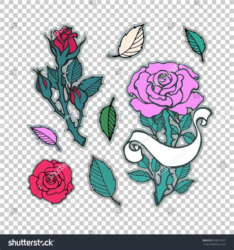tattoo badge printer rose tattoo set sticker patch collection stock vector