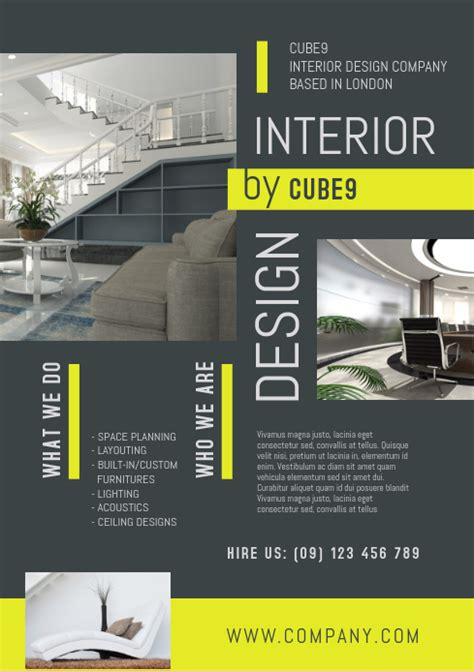 interior design company flyer template postermywall