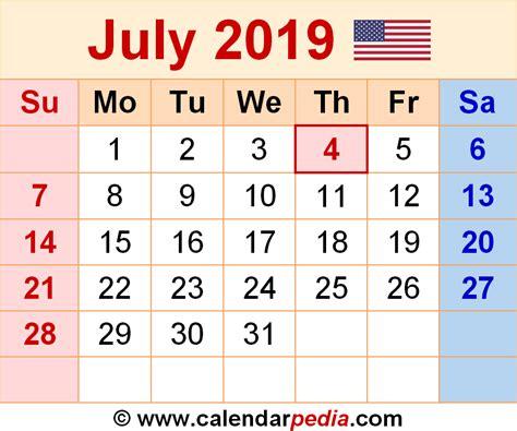 Calendar 2019 Pdf July 2019 Calendars For Word Excel Pdf
