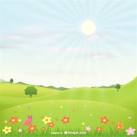 Landscape Vector Landscape With Flowers Vector Free