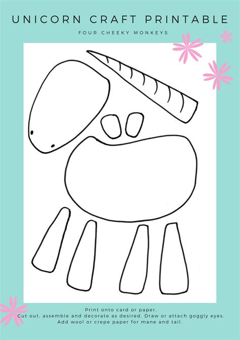 free craft templates to print unicorn craft activity flower crown and free printables