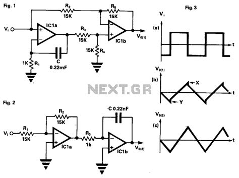 integrator circuit with square wave input gt oscillators gt square wave gt improved non inverting integrator l12107 next gr