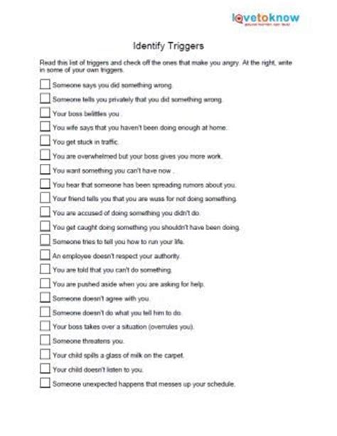 identify anger triggers: anxiety worksheet, anger