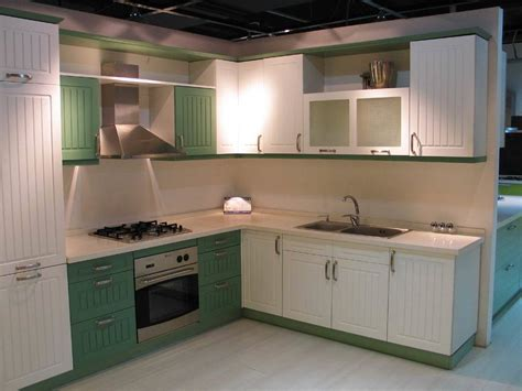 china white and green color pvc cabinets and pantry