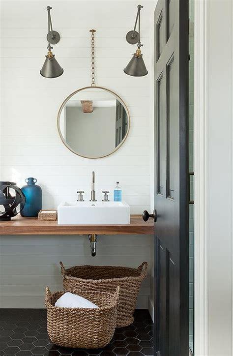 Modern Cottage Bathroom with Large Black Hex Tile Floor