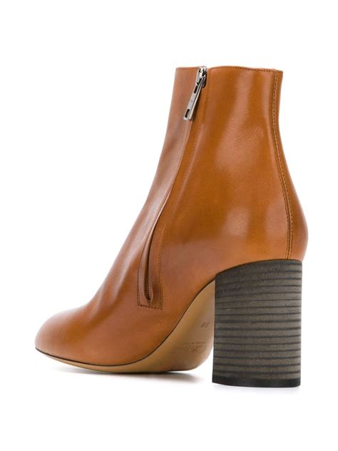 chlo 233 chunky heel boots in brown lyst