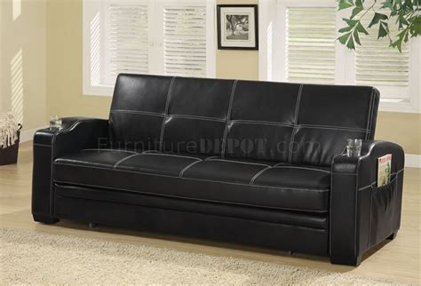 black vinyl modern sofa bed convertible w white stitching