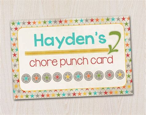 Picture Chore Card Templates by 7 Best Images Of Free Printable Chore Punch Card For Boys