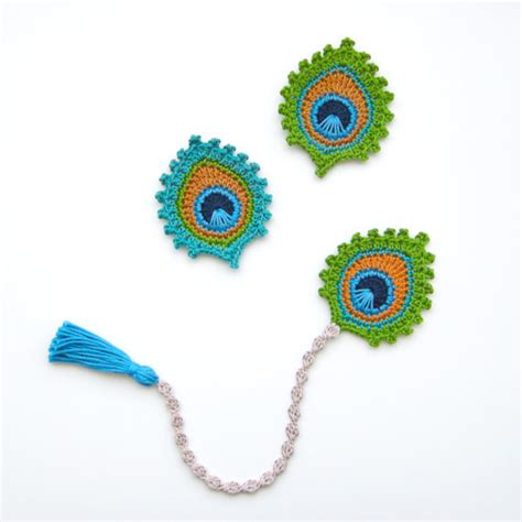 Instant Motif 1 crochet pattern peacock feather bookmark and motif