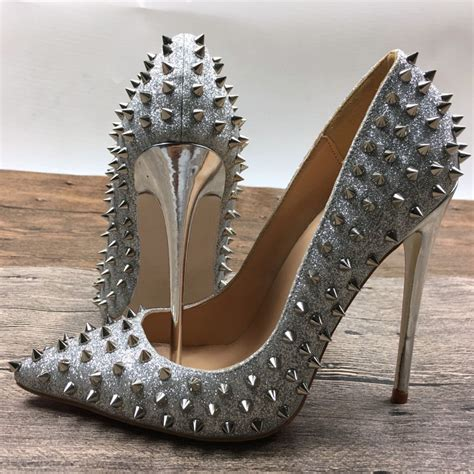 Xoxo Heels Silver 12cm silver rivets high heels patent exclusive brand needle rivet shallow high heels wave