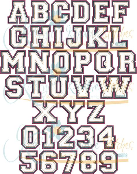 College Letter Font College Time Applique Font 5 Sizes