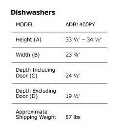 Dishwasher Height Guide Guide Amana Tub Dishwasher Adb1400pyd Silver