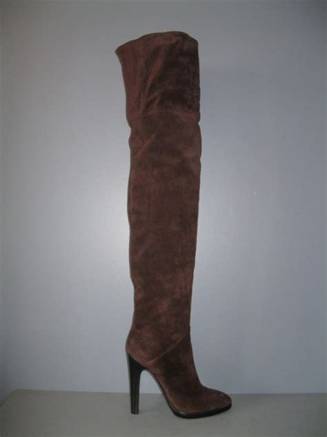 authentic giuseppe zanotti new 40 brown suede thigh high