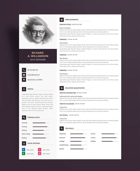 Creative Resume Design Templates by Creative Professional Resume Cv Design Template With Cover Letter Psd File Resume