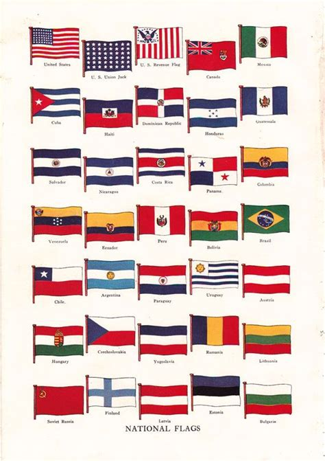 flags of the world encyclopedia vintage flag print of national flags from around the world