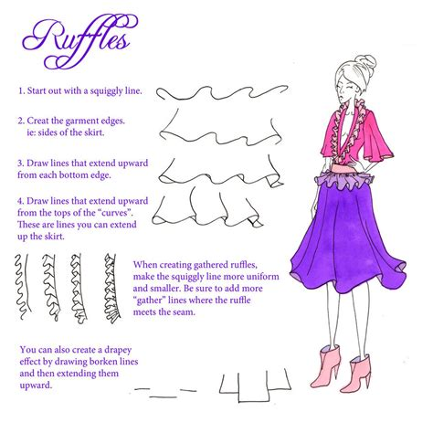 fashion illustration ruffles how to draw ruffles and gathers by sufon on deviantart