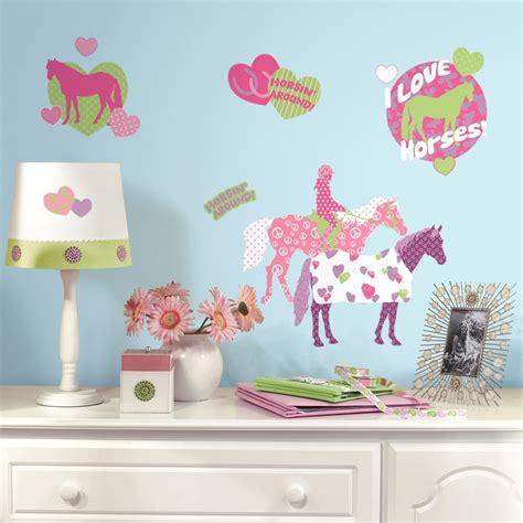 horse crazy wall decals girls horses stickers pink bedroom decor ebay