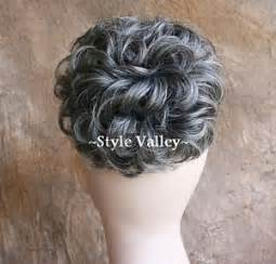 salt pepper bun hairpiece extension gray mix short curly