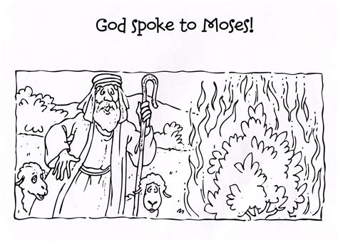 moses and the burning bush coloring pages jacb me