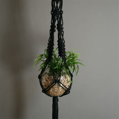 Macrame Plant - mr big black macrame plant hanger the knot studio