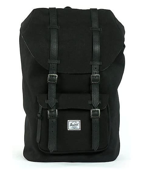 Original Herschel America Backpack Black herschel supply america black canvas backpack zumiez