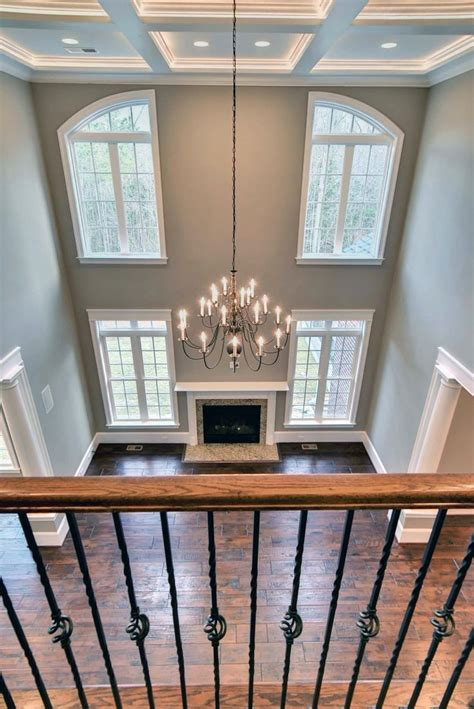 two story family room with coffered ceilings home inspiration paint