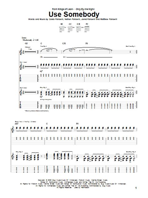 Use Somebody Guitar Chords