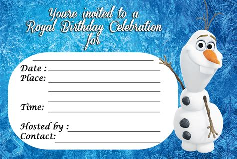 printable birthday invitations olaf frozen royal celebration invitation 3in1 events more