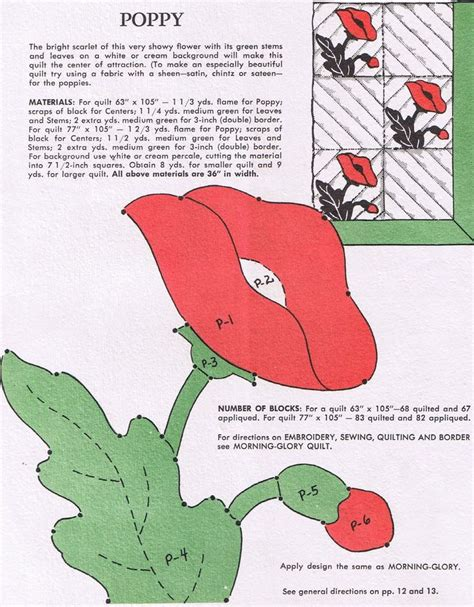 Poppy Applique Quilt Pattern by Poppy Block Vintage Quilting Templates